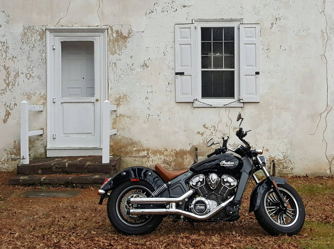 Indian Scout motorcycle parked near home