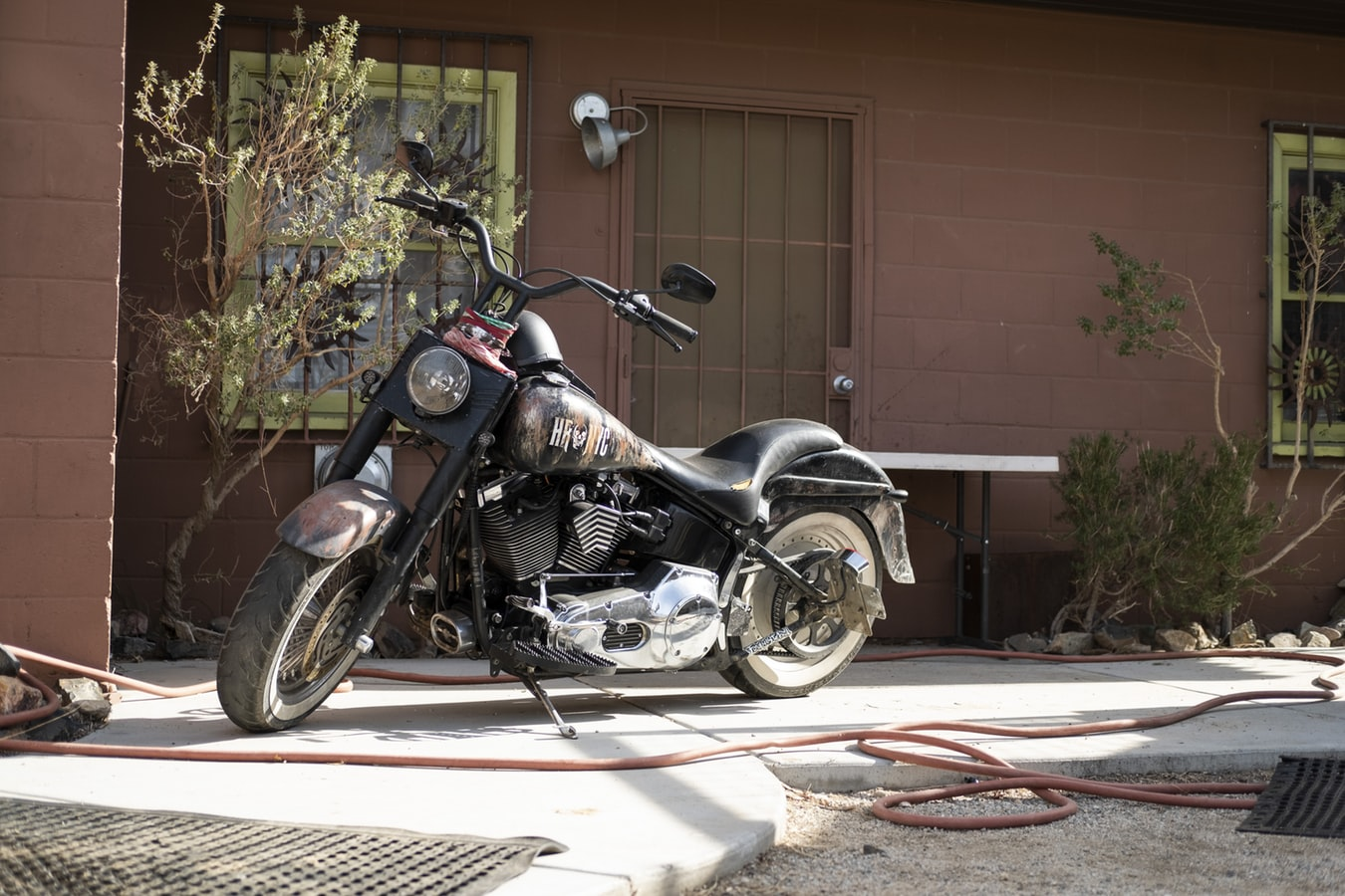 Motorcycle in the yard