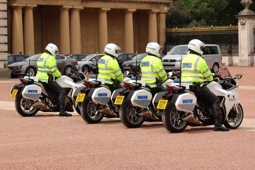 British police with motorcycles
