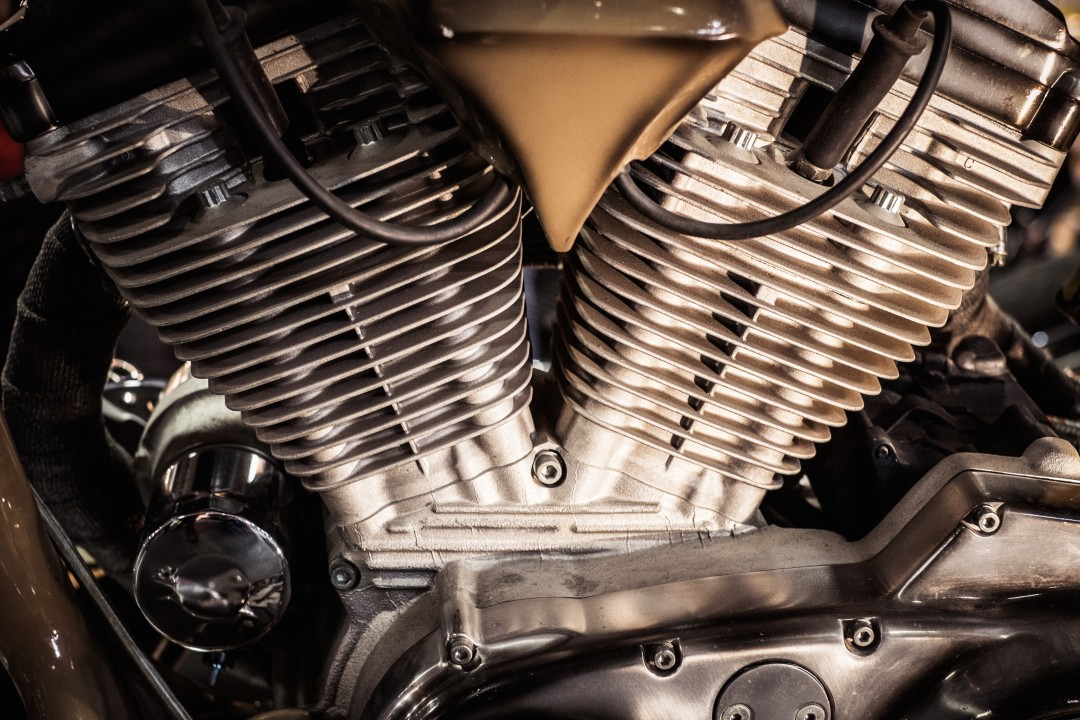 Close up of a motorcycle engine