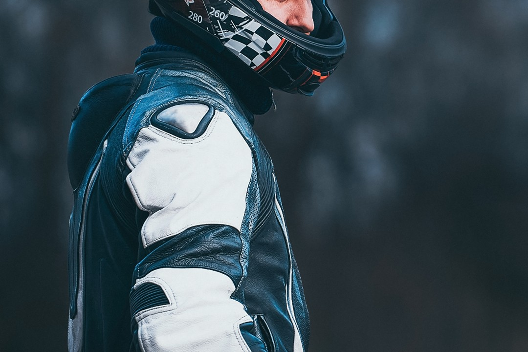 Geared up motorcycle rider