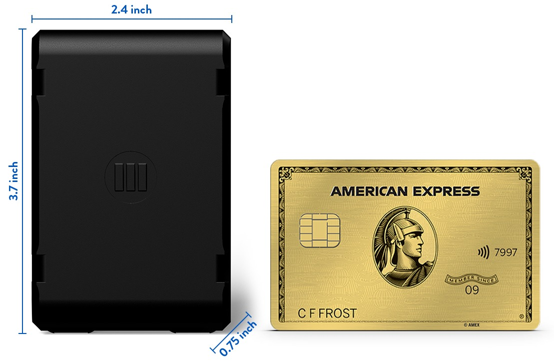 Monimoto 7 size compared to a credit card