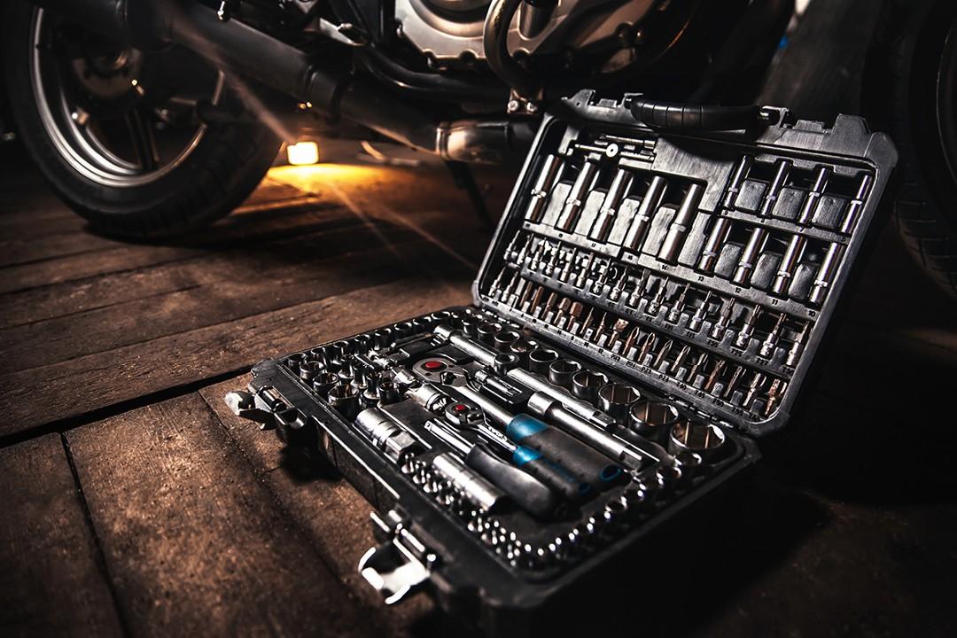 Motorcycle maintenance tool set