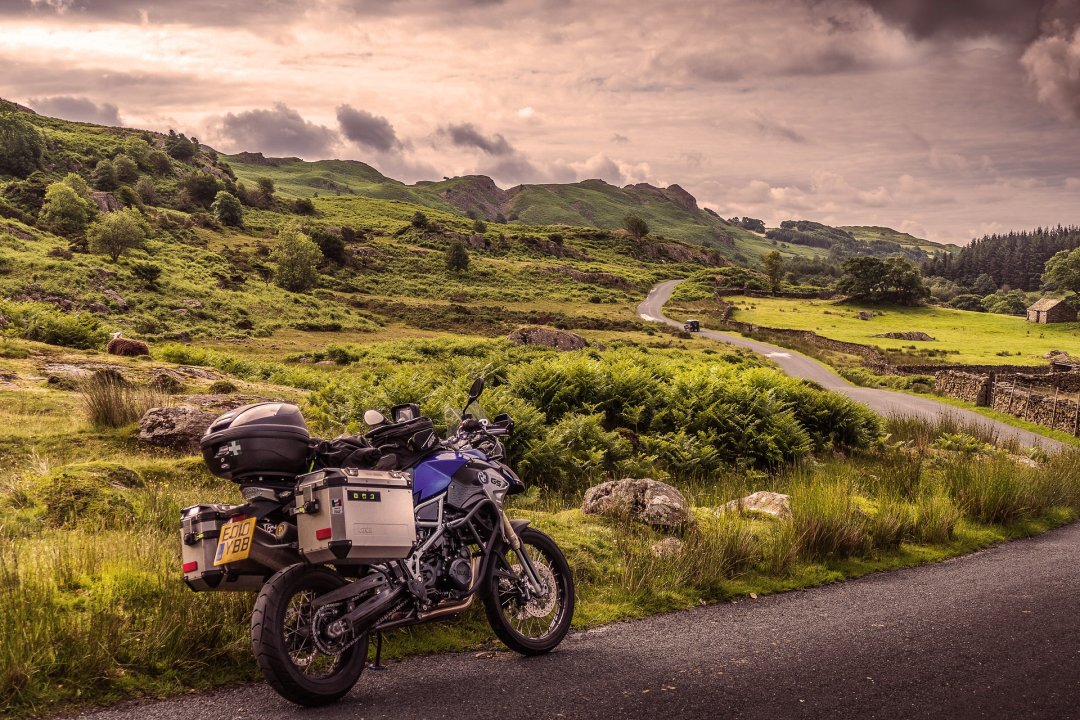 Motorcycle on a road trip