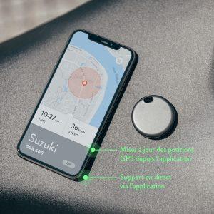 Écran du téléphone avec l'application Monimoto