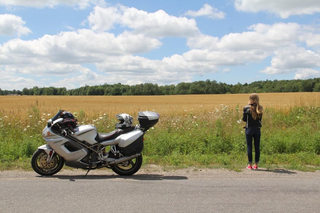 Sport bike near the road