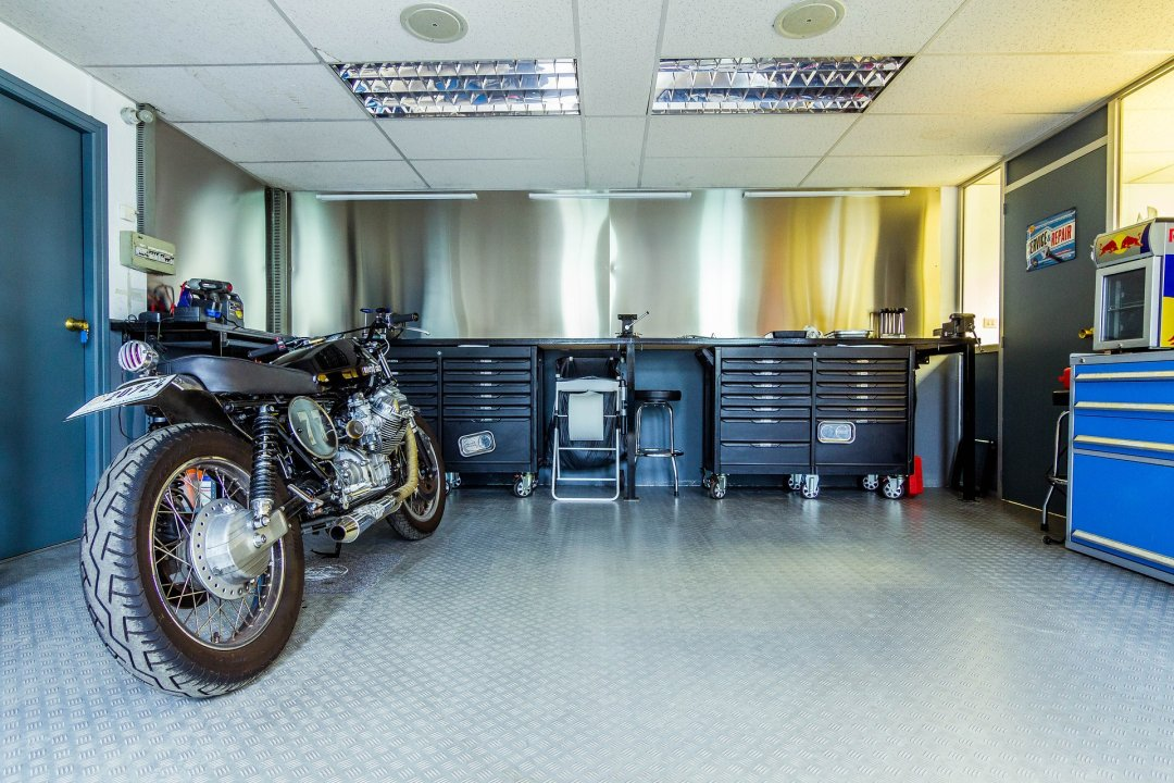 Motorcycle stored inside the garage